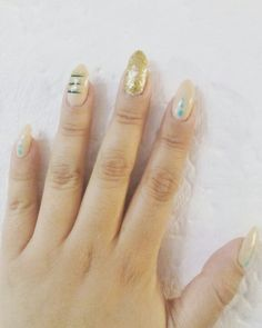#nailart  nude, mint and gold