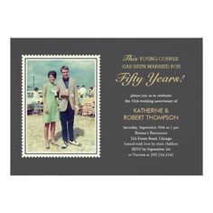 Shop Young Couple Wedding Anniversary Invitations created by UniqueInvites. Personalize it with photos & text or purchase as is! Wedding Anniversary Invitations, Anniversary Parties, 50th Anniversary, Young Couple Wedding, Wedding Couples, Custom Invitations, 50th Birthday Party, Young Couples