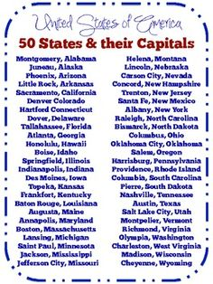 List of 50 United States their Capitals {freebie} Government Lessons, Teaching Government, Social Studies Worksheets, Teaching Social Studies, History Education, Kids Education, Teaching History, Voyage Usa, States And Capitals