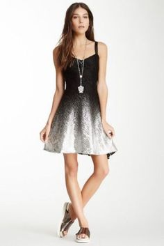 Free-People-Black-amp-Metallic-Silver-Foil-Lace-Ombre-Dress-F676Z625-XS