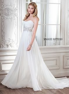 Grecian inspired chiffon wedding dress, complete with Swarovski crystal embellishment at the waist and accented with subtle scoop neckline, Reine  by Maggie Sottero.