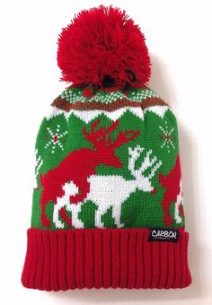 Funny REINDEER HUMPING SEX POM BEANIE Ugly-Sweater-Knit Winter Hat Christmas Men #Carbon #Beanie