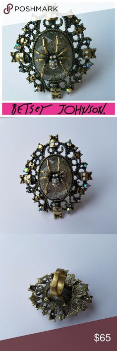 Rare BETSEY JOHNSON Dark Forest Spider Ring Rare & Hard to Find Vintage Betsey Johnson Ring from her Dark Forest Collection. Spiders, Skulls and Crystals Oh My! Great Condition, Guaranteed Authentic! Betsey Johnson Jewelry Rings