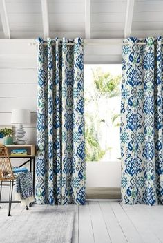 Buy Blue Ikat Print Eyelet Curtains From The Next UK Online Shop