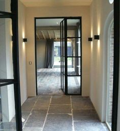 VLOER gorgeous metal framed windows and doors -Belgian bluestone floors - Moka Projects Stone Tile Flooring, Flagstone Flooring, Interior Architecture, Interior And Exterior, Architecture Details, Steel Doors And Windows, Metal Doors, Deco Cool, Belgian Style