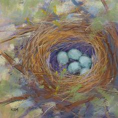 Bird Nest with Eggs Original Pastel by KarenMargulisFineArt