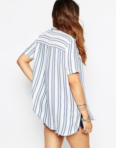 ASOS CURVE Stripe Beach Shirt