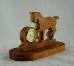 #Prancing #Horse #Desk Or #Shelf #Clock #Handmade From Cherry Wood, Horse Clock,Trotting Horse, @KevsKrafts.com