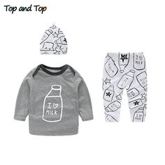 c734d3e913d1 Baby Boys Clothes Set Autumn Newborn Casual Baby Girl Clothing Sets Long Sleeve  T Shirt Pant Hat 3PCS Set