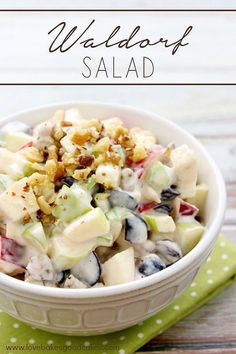 Fresh apples, celery, grapes and walnuts in a mayonnaise dressing. Traditional Waldorf Salad is full of fresh apples, celery, grapes and walnuts in a mayonnaise dressing. Serve it as a side dish or appetizer. You can easily add chicken or turkey to make it a complete meal! #CAwalnuts #salad #fruit