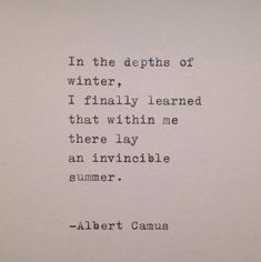Albert Camus Handtyped Quote is part of Summer Love quote Etsy - Hand typed onto a cream colored card stock on a vintage 1939 Triumph typewriter Life Quotes Love, Great Quotes, Quotes To Live By, Inspirational Quotes, Coffee Love Quotes, Daily Quotes, Poem Quotes, Words Quotes, Sayings