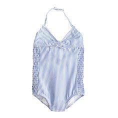 Girls' one-piece swimsuit in seersucker - cooper's picks -Girls- J.Crew