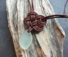 Scottish SeaGlass and  Leather Celtic Knot Necklace - Made to Order -Seaglass -Surfer Necklace -Beachwear-Etsy seller