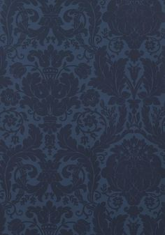 Drexel #wallpaper in #navy from the Damask Resource 3 collection. #Thibaut