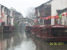 Sezshuan, China by Joanne Corbin canal boats