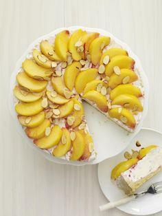 Peach Melba Ice Cream Cake #fruit #summer #dessert