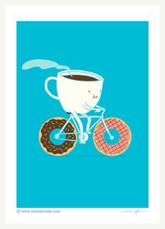 Coffee and Donut - Art print – ilovedoodle - The visual art of Lim Heng Swee