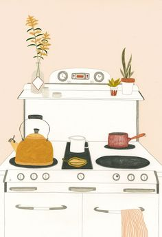 Homely Drawings by Melanie Gandyra Melanie Gandyra's illustrations make me want to re-do my home and paint the walls in beautiful pastel colors. - Adorable pastel kitchen illustration by Melanie Gandyra Art And Illustration, Food Illustrations, Kitchen Drawing, Kitchen Artwork, Kitchen Wallpaper, Arte Popular, Art Plastique, Cute Art, Illustrators