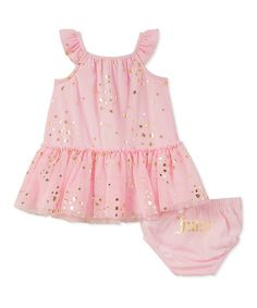 Juicy Couture Pink & Gold Heart Yoke Dress & Diaper Cover - Infant | zulily
