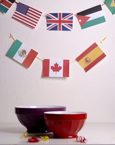 Make a garland of paper flags representing your child's favorite countries.