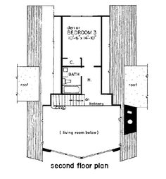 A-Frame Cabin Contemporary House Plan 43048 Level Two