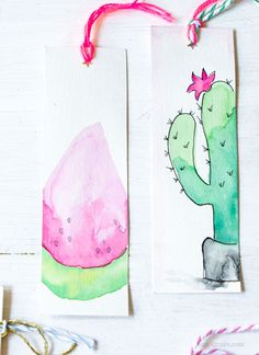 Marque page aquarelle DIY - Art Design Creative Bookmarks, Bookmarks Kids, Paper Bookmarks, Watercolor Bookmarks, Watercolor Art Diy, Diy Blog, Illustrations, Drawings, Crafts