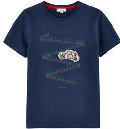 T-shirt+bleu+marin+avec+imprimé+au+devant