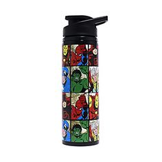 This Steel Water Bottle features a Grid print of all your favorite Marvel  characters. 9df26391be07b