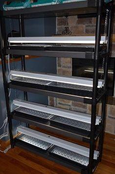 All 4 lights installed onto shelving unit
