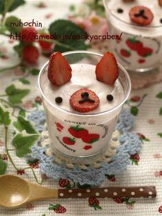 【レシピあり】うさぎのイチゴミルクムース|なおちゃんのキャラ弁&キャラスイーツⅡ |Ameba (アメーバ) - cute decoration idea for mousse or other little deserts. #Pig #cute_food