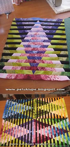 Печворк - полоски.  Sew pink to black  sew blue to green. Arrange triangles separately. Slice overlap to one.