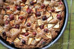 Cranberries add a tart kick to this traditional apple cake. Not too much of a kick, Bubela. Just enough. But if you loathe cranberries, leave 'em out. It's all good.