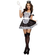 French Maid Costume Adult Sexy Halloween Fancy Dress #Dreamgirl