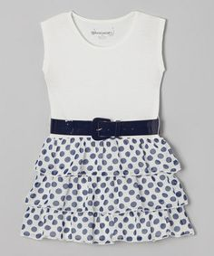 White & Navy Ruffle Belted Dress - Toddler