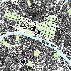 Figure ground map of Le Corbusier's urban plan for Paris, 1920's #map #lecorbusier #paris