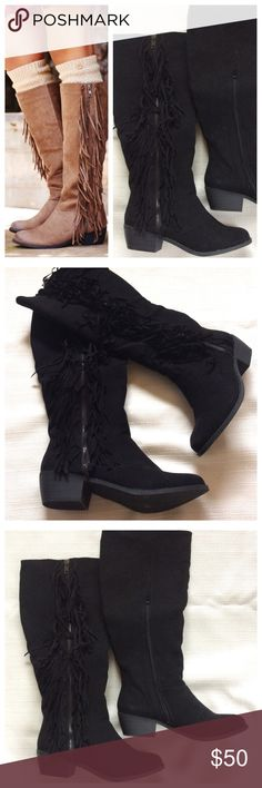 Tiberius Fringe Knee High Booth in BLACK Stay on-trend with the perfect knee-high black boot! Outside faux zipper sandwiched by two rows of fringe; inside functional zipper allows easy wear. Brand new, in original box, size 7.5 by Not Rated Shoes