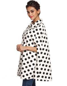 FINEJO Cute Ladies Women Poncho Cape Coat Polka Dot Lapel Outwear Top
