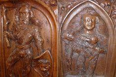 La famille sauvage d'Ambierle- LES STALLES D'AMBIERLE, LES 36 APPUIS-MAINS, 13) Au S: le monstre de feuilles, le prédateur, la feuille de chêne, le chien repu, le bandeau, le monstre, la femme au voile, l'ange et le blason, Bonnet au cou, moine chanteur, l'ange à la croix, le soldat casqué, monstre aux écailles, le prédateur aux dentelles, le monstre aux sabots, l'homme au bâton.