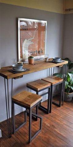 Bar Table Ikea, Tall Kitchen Table, Kitchen Breakfast Bar Stools, Breakfast Bar Table, Ikea Bar, Bar Table Sets, Rustic Kitchen, Table Stools, Kitchen Small
