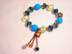 Betsey Johnson Crystal Bracelet Beaded Charm Chain Stretch Turquoise #BetseyJohnson #Stretch