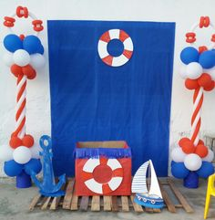 Nautical Bridal Showers, Nautical Party, Balloon Decorations, Birthday Decorations, Crocodile Party, Boat Theme, Sailor Theme, Photos Booth, Baby Boy Photography