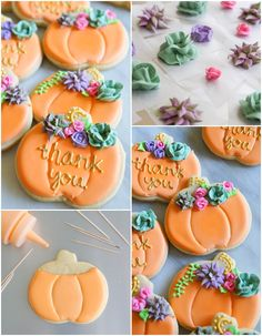 decorated pumpkin cookies with royal icing succulents and roses | bakeat350.blogspot.com