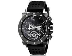 Fashionable Man Round Analog Watch with Soft Silicone Strap Wrist Watch
