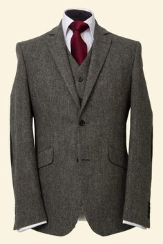 Charcoal Fine Herringbone Lambswool Tweed Martin Men's Tweed Suit Jacket Charcoal Fine Herringbone Lambswool - Walker Slater Walker Slater Tweed Specialists