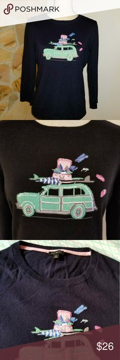 "Talbots navy sweater Navy cotton blend 3/4 sleeve sweater in great condition!!  Pastel green car with open suitcase and clothes flying out!! So cute!! • Armpit to armpit:  20"" • Length:  25"" • Waist (laying flat):  17.5"" • Sleeve:  19.5""  Bundle and save!!  Open to offers!! Talbots Sweaters Crew & Scoop Necks"
