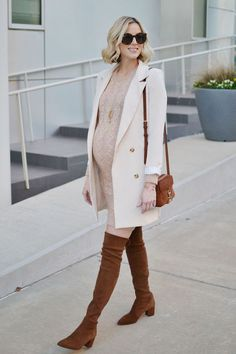 blush sweater dress longline blazer over the knee boots how to style a sweater dress neutrals stylish maternity outfit idea fall outfit Winter Maternity Outfits, Stylish Maternity, Maternity Wear, Fall Outfits, Fall Maternity Fashion, Maternity Styles, Maternity Photos, Sweater Dress Outfit, Dress Outfits