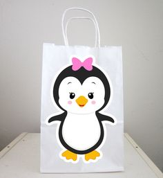 Penguin Goody Bags, Penguin Favor Bags, Penguin Party Bags, Winter Onederland Favor, Goody, Gift Bags, Girl Penguin by CraftyCue on Etsy