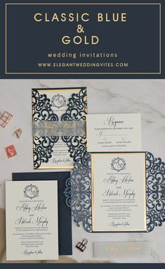 classic blue and shimmer gold laser cut monogram wedding invites #ewi# blueinvitations