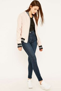 Urban Renewal Vintage Surplus Pink Wool Bomber Jacket
