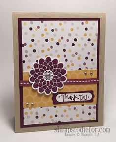 Melissa my customer sent me this hand made card made with the Stampin' Up! Moonlight paper and Flower Patch stamp set for my Birthday what a special treat! www.stampstodiefor.com
